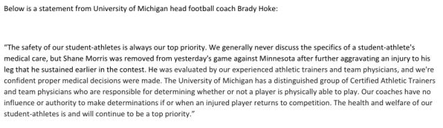 Brady Hoke Statement