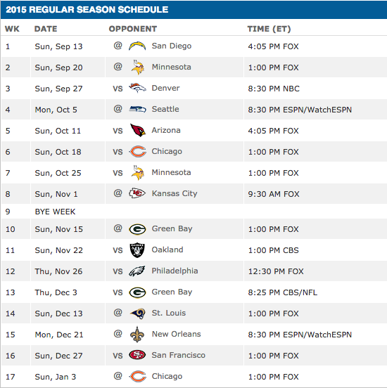 Detroit Lions Season Schedule